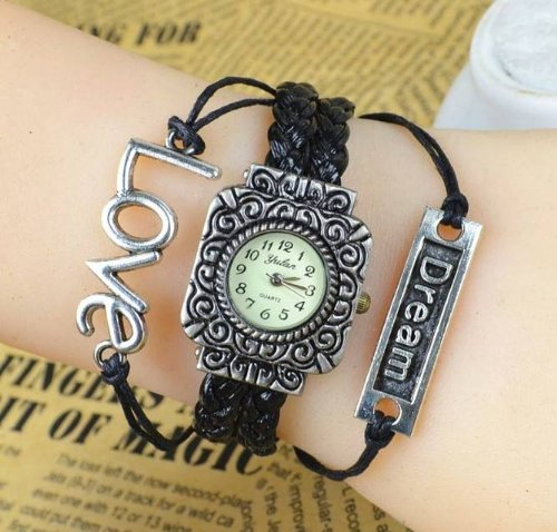 Kano Bak(Tm) Retro Bronze Women Ladies Unisex Weave Wrap Dream Leather Bracelet Bangle Quartz Gift Watch Black