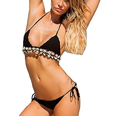 Itopfox Women's Knitted Swimsuit Crochet Bralette Shell Bikini Set