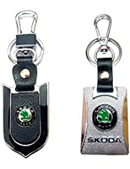 City Choice New Skoda Leather-Metal Hook & Locking High Quality Keyrings Combo