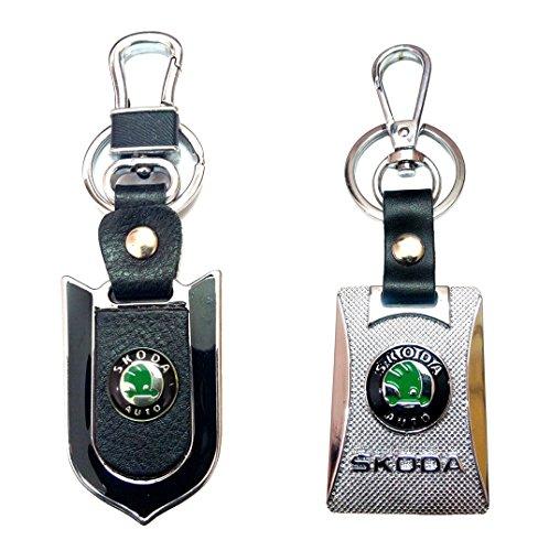 City Choice New Skoda Leather-Metal Hook & Locking High Quality Keyrings Combo