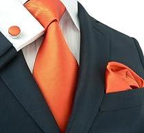 """Landisun 139 Solids Mens Silk Tie Set: Tie+Hanky+Cufflinks Bright Orange, 3.75""""Wx59""""L"""