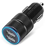 ShuoGe 2.1A / 24W 2-Port Titanium Car Charger for iPhone 6 / 6S Plus / 5S / 5 / 4, iPad, Ipod, Samsung Galaxy, Smart Phones, Tablets - Black