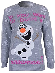 STYLE MIXX Do You Want To Build Snowman Olaf Frozen Christmas Jumper Sweater Top Xmas Gift (L/XL 14-16, GREY)