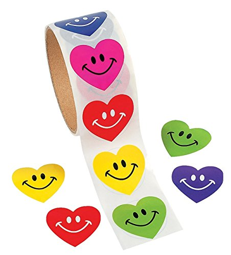 100 Smile Heart Roll Stickers, 1 Roll