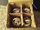 4 Vintage Small Porcelain Trinket Boxes with Applied Flowers Original Box