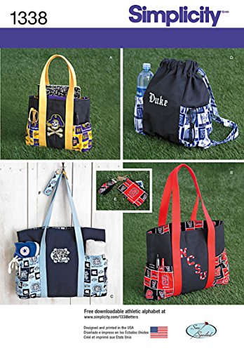 Simplicity Creative Patterns 1338 Tote Bags in 3 Sizes, Backpack and Coin Purse Sewing Patterns, One Size (Purse Sewing Patterns compare prices)