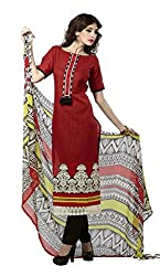 Adaa Women's Cotton Unstitched Dress Material (HS-VD-0650-B_Maroon_Free Size)
