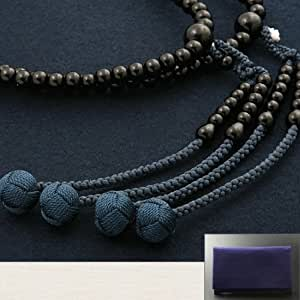 京仏壇はやし 数珠 真言宗 尺二 黒檀 (男性用) 正式 本式 【数珠袋付き】 京都