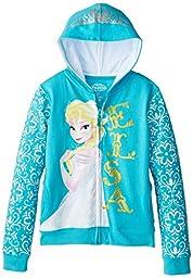 Disney Girls\' Frozen Elsa Hoodie, Turquoise, Medium
