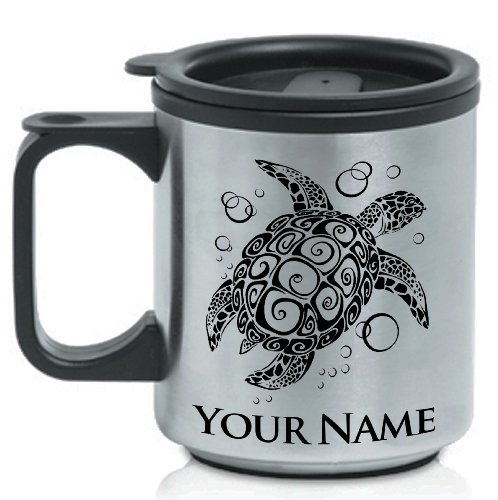 Personalized Stainless Steel Coffee Mug - Sea Turtle / Animal - Laser Engrave Your Name For Free.