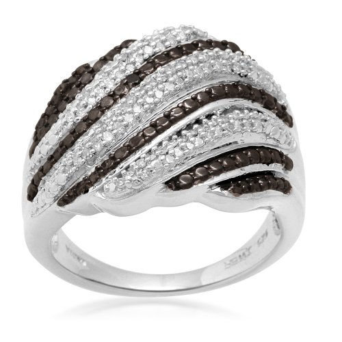 Sterling Silver Black and White Diamond Ring (1/4 cttw, I-J Color, I3), Size 7