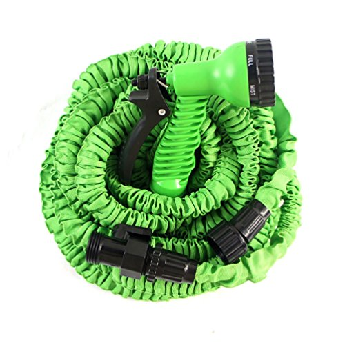Green-Rubber-Expandable-Garden-Hose-High-Pressure-7-Function-Spray-Nozzle-And-Shut-Off-Valve-Light-Weight-Strong-No-Kink-And-Super-Flexible