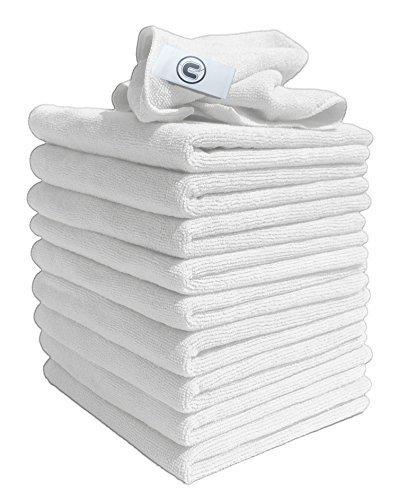 Discounted Cleaning Supplies panni per pulizia in microfibra bianchi 40 cm x 40 cm ottimo per pulire auto barche cucina bagno specchi ecc. - usati dai professionisti del pulito - 10 pezzi dalla gamma Everyday Requirement