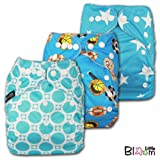 LittleBloom, Reusable Pocket Cloth Nappy, Fastener: Popper, Set of 3, Boy Patterns 313, Without Insert, set_14221
