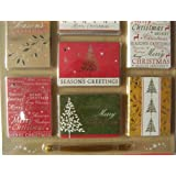 TPCN 50 Luxury Foiled Christmas Gift Tags with Gold Metallic Thread