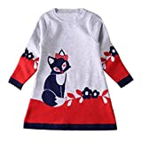 Nosii Baby Girl Animal Fox Long Sleeve Winter Party Kid's Casual Dress 6-7Years,Blue