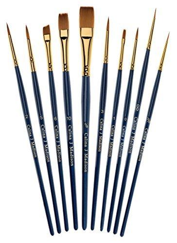 art-cepillo-set-10-piezas-golden-nylon-watercolor-y-detalle-de-acrilico-pintura-brushes-short-handle