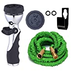 Expandable Garden Hose, Brass Connectors, Shutoff Valve [BONUS] FREE 9 Pattern HIGH Pressure Metal Sprayer AUTOMATIC FIRE Nozzle for Car or Windows. 3 Layer Latex, Metal Hook Hanger Holder. (50 Feet)