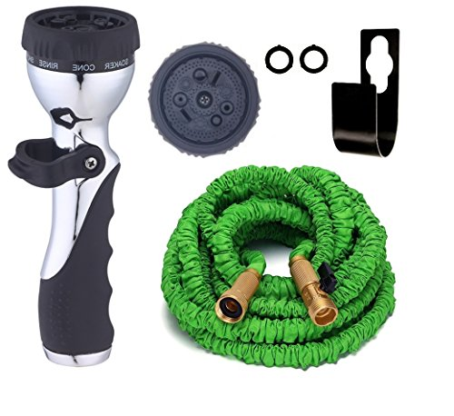 Expandable Garden Hose, Brass Connectors, Shutoff Valve [BONUS] FREE 9 Pattern HIGH Pressure Metal Sprayer AUTOMATIC FIRE Nozzle for Car or Windows. 3 Layer Latex, Metal Hook Hanger Holder. (50 Feet) (Garden Hose Trolley compare prices)