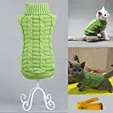 Knitted Braid Plait Turtleneck Sweater Knitwear Outwear for Dogs & Cats (Green, L)