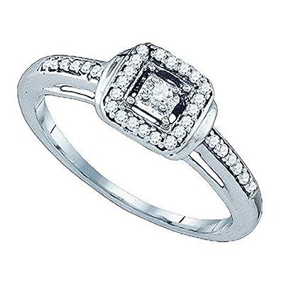 0.19 Carat (ctw) 10K White Gold Round Cut White Diamond Ladies Bridal Fashion Engagement Ring