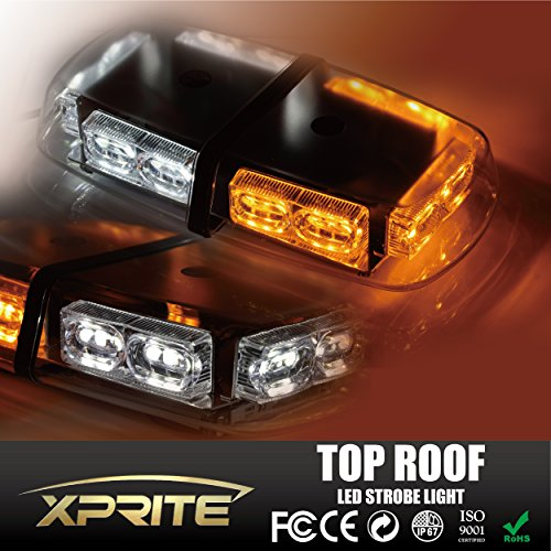Xprite Gen 3 White & Amber Yellow 36 LED 18 Watts Hign Intensity Law Enforcement Emergency Hazard Warning LED Mini Bar Strobe Light with Magnetic Base (Blue And Yellow Light Bar compare prices)