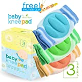 Baby Knee Pad For Crawling With Pacifier Clip By Little Lamby (3 Pairs) - Breathable Adjustible Elastic Unisex...