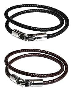 ファイテン(phiten) RAKUWAブレスX100 レザータッチモデル ブラック・ブラウン40cm 0310TG415001