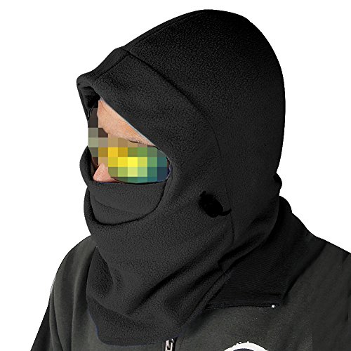 Nsstar™ Thermal Warm Fleece Full Face Mask Balaclava CS Mask Head and Neck Cover Warmer Windproof Hooded Scraf Hat for Winter Outdoor Sports Cycling Motorcycle Bike Ski Snowboard fishing with 1PCS Free Cup Mat Color Random (Black)