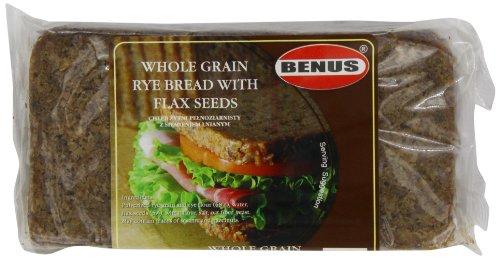 Benus Wholegrain Rye Bread with Flaxseeds 500 g (Pack of 12)