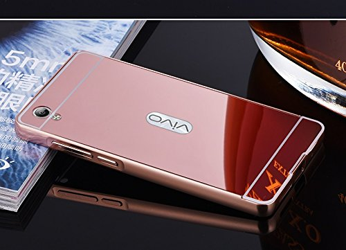 D-kandy Aluminum Metal Bumper with PC Mirror Back Cover Case For Vivo Y51 / Y51L (ROSE GOLD)