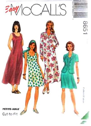 Mccall'S Sewing Pattern 8651 Misses' Unlined Jacket And Dress In 2 Lengths, Size B (8 10 12)