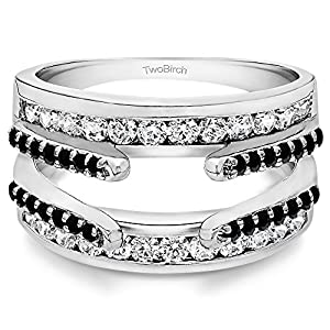Sterling Silver Combination Cathedral and Classic Ring Guard set with Black And White Cubic Zirconia (0.49 Ct. Twt.)