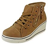 LoudLook New Womens Ladies Ankle Lace Up Gold Flat Hi-Top Wedge Shoes Boots Trainers Size 3-8 UK