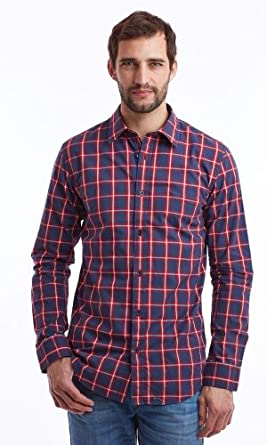 Chemise Endfield Edgar Check Popeline Blue Lee Cooper L Homme