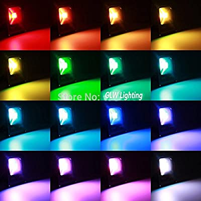 GLW® 20W LED RGB Flood Light, Remote Control Waterproof Outdoor Security Light, 4 Models with 16 Color Tones Spotlight, Dimmable Color Changing