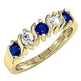 0.80 Carat (ctw) 14K Yellow Gold Round Blue & White Sapphire 5 Stone Wedding Band 3/4 CT (Size 8)