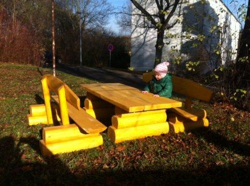 Rustica–Set soggiorno in legno ago/tedesco/1,40m di lunghezza/qualità artigianale in legno capacità per 10bambini/lasiertes colore–Pino seduta o larice