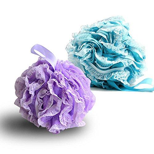G2Plus, spugna esfoliante soffice da bagno/doccia, confezione da 2, Extra fitta, in spugna di luffa