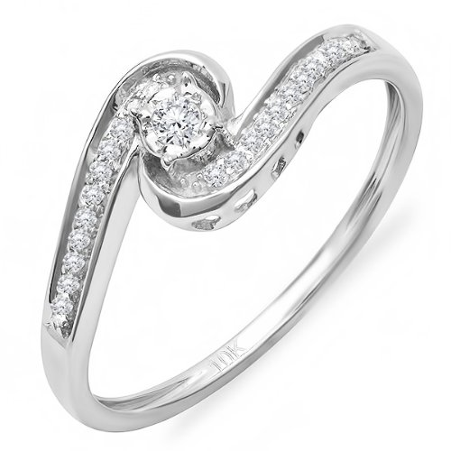 0.15 Carat (ctw) 10k White Gold Round Diamond Ladies Swirl Promise Engagement Ring