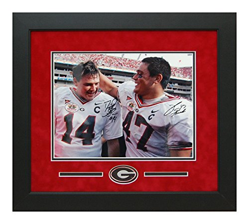 David Greene and David Pollack Georgia Bulldogs Autographed 11x14 Custom Framed photo of their Last Game