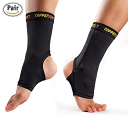 CopperJoint Compression Ankle Sleeve #1 Plantar Fasciitis Sock, Copper Infused Arch Support - GUARANTEED Recovery Brace - Wear Anywhere - Medium - Pair