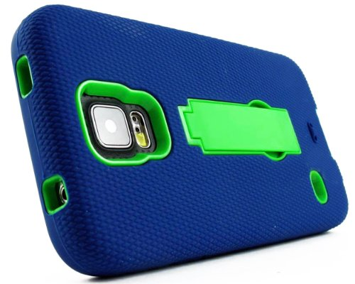 Mylife (Tm) Deep Navy Blue And Bright Spring Green - Shock Suit Survivor Series (Built In Kickstand + Easy Grip Silicone) 3 Piece + 2 Layer Case For New Galaxy S5 (5G) Smartphone By Samsung (External Flex Silicone Bumper Gel + Internal 2 Piece Rubberized