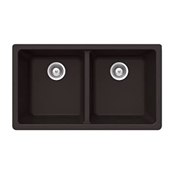 Houzer ALIVE N-200U CHOCOLATE Schock-Houzer Alive Series N-200U Undermount 50/50 Double Bowl Kitchen Sink, Chocolate