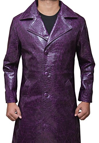 New Suicide Squad Joker Men's Purple Leather Coat M