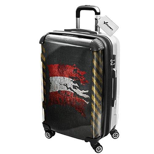 Bandiera Strappati Austria, Luggage Valigia Bagaglio Ultraleggero Trasportabile Rigido con 4 Route e Disegno Intercambiabile. Dimensione: Grande, L
