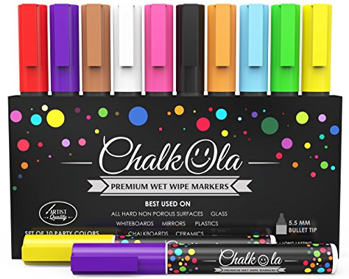 Chalk Markers - Pack of 10 neon color pens. For Chalkboard, Whiteboard, Window, Labels, Bistro, Glass - Wet Wipe Erasable - 6mm Bullet Tip (Sewing Marker Paper compare prices)