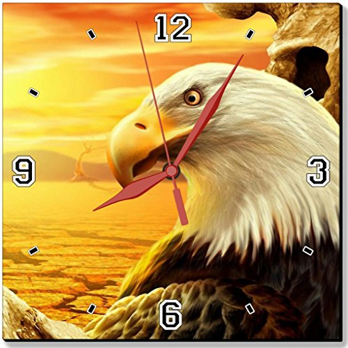 """Eagle High Tech 3D Sunshine Trees Punktail'S Collections 10"""" Quartz Plastic Wall Square Clock Customized Made To Order"""
