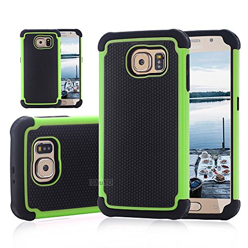 Galaxy S6 Case, ShuYo [Basket Series] [Black/Green] Shock Absorbing Hybrid Rubber Plastic Impact Defender Rugged Slim Hard Case Cover Shell For Samsung Galaxy S6 S VI G9200 GS6 All Carriers