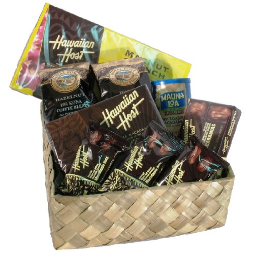 Hawaiian Lauhala Prince Gift Basket Roasted Kona Coffee Blends & Macadamia Nuts Chocolate & Macadamia Candies